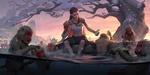 Обои Девушка с тату дракона на плече сидит на краю водоема, среди резвящихся обезьян в воде под заснеженным деревом, by Hou China