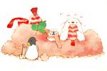 Обои Пингвин с лопатой, белый мишка с рыбкой в лапах на еде с листочком