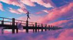 Обои Девочка идет по ограждению моста под облачным небом