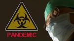 Обои Врач в медицинской маске на фоне треугольника и надписи (PANDEIUC)