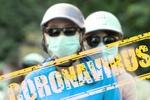 Обои Люди в медицинских масках и шлемах и табличка CORONAVIRUS, by Gerd Altmann