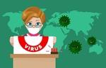 Обои Девушка в медицинской маске держит плакат с надписью virus в руках на фоне карты мира и микробов коронавируса, by mohamed Hassan