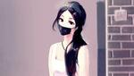 Обои Темноволосая девушка в маске у кирпичной стены (Smile / Улыбка)