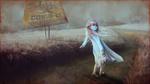 Обои Девочка в маске, с игрушечным единорогом, идет босая по тропинке в поле, окутанного туманом, где стоит предупреждающий щит с надписью (COVID-19, BIOHAZARD), by Vladimir MineeV