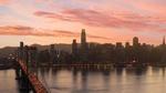 Обои Мост на фоне вечернего города San Francisco / Сан-Франциско, by Riley