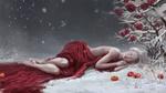 Обои Белокурая девушка в красной ткани лежит на снегу у куста алых роз, рядом лежат яблоки, by Malabra