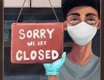 Обои Парень в маске стоит у вывески sorry closing up shop / извините, магазин закрыт, автор Annalea Watkins