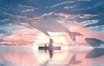 Обои Девушка с кошкой и резвящиеся киты в море на фоне закатного неба, by JW