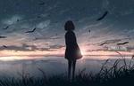 Обои Девушка стоит в траве на берегу водоема в лучах закатного солнца, by JW (LONELY GIRL / олинокая девушка)