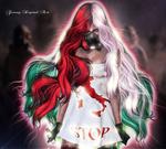 Обои Девушка с маской на лице стоит в платье с надписью STOP / СТОП, работа Italy vs Covid-19 / Италия против коронавируса, by Genny Sinphie