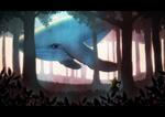 Обои Ведьмочка смотрит на парящего в лесу кита