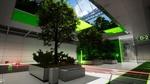 Обои Комната исследовательского центра, стены и частично потолок которого облицованы в зеленую панель, паркет или плитку, с высаженными в клумбах деревьями и кустарниками, а также лазером красного цвета и предметом, в виде сдерживающего силового поля которые не пропускает тот или иной цвет лазера, кроме зеленого, игра RETHINK 3, разработчик Yaeko