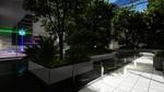 Обои Комната исследовательского центра, с высаженными в клумбах деревьями и кустарниками, которые ограждены стеклянным забором и стеной, за которой, находится тестовая камера с кубиками и лазерами игра RETHINK 3, разработчик Yaeko