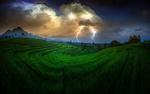 Обои Чайные плантации под грозовым небом, Индонезия