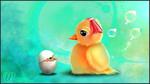 Обои Цыпленок напротив яйца с цыпленком, by ann0314