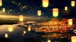 Обои Фонарики парят над ночным городом, by BUZZ