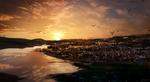 Обои Город в лучах заходящего солнца, by BUZZ