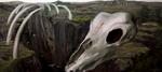 Обои Скелет огромного животного в горах, by BUZZ