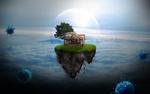 Обои Плавающий островок с домиком в облаках во время вируса