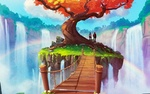 Обои Парень и девушка, перейдя через мост, остановились у дерева и смотрят на водопад с радугой, art by Tato Herrera