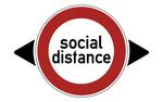 Обои Предупреждающий знак social distance / социальная дистанция