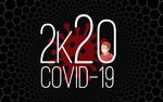 Обои Мужчина в маске, красная бактерия и фраза 2k20 Covid-19 на черном фоне