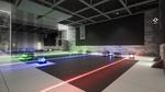Обои Одна из испытательных комнат исследовательского центра, со стеклянными кубиками, лазерами, синего, красного и зеленых цветов, точек соприкосновения для них, синего, зеленого, фиолетового и белого цветов, огороженная стеклянным барьером, за которым находится другая испытательная комната, из игры RETHINK 3, разработчик Yaeko
