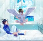 Обои Парень лежит на кровати и другой мальчик - ангел сидит у окна