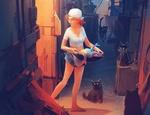 Обои Девочка в бейсболке держит в руках посуду с рыбой и стоит на улице, где сидят черные кошки, by Nikolai Lockertsen