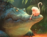 Обои Обезьяна сидит на пасти крокодила, автор Nikolai Lockertsen