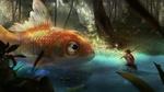Обои Мальчик сидит с удочкой в руке перед большой рыбой, by ye-rim