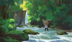 Обои Девочка стоит в воде с рыбой в руках, by a Bone
