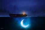 Обои Лодка с фонарем на воде, в которой светиться месяц, by BaxiaArt