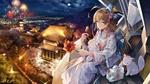 Обои Девушка в кимоно с котятами сидит в кабине боевого робота и любуется фейерверком над японским городом, из аниме Iron Saga