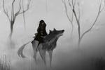 Обои Длинноволосая девушка верхом на волке, by SagaTale