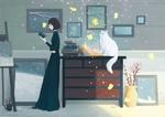 Обои Девушка с книгой в руке стоит у камода, на котором сидит белая кошка
