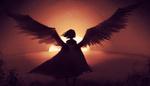 Обои Силуэт девушки с крыльями на фоне сходящего солнца, by SagaTale