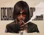 Обои Девушка в солнцезащитных очках с сигаретой в руке, by MonoriRogue