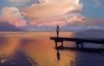 Обои Девушка стоит на мостике на фоне облачного неба, автор Chaiyanun Kesorn