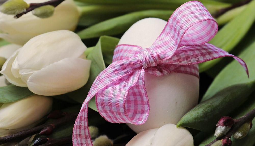 Обои для рабочего стола Яйцо с бантиком и белые тюльпаны