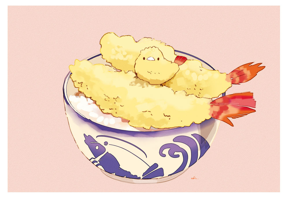 Обои для рабочего стола Птичка сидит в чашке риса с рыбой в кляре