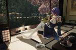 Обои Rem / Рэм сидит на полу в комнате с чашкой в руке, Re Zero Kara Hijimeru Isekai Seikatsu / Жизнь с нуля в другом мире, by Rui Li