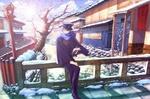 Обои Vocaloid Kaito Shion / Вокалоид Кайто Шион с книгой в руке стоит на мосту на фоне зимнего пейзажа