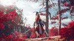 Обои Kantai, девушка с копьем на фоне красных листьев