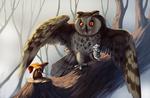 Обои Сова, распахнув крылья на дереве рядом с мышкой в образе рыцаря и принцессы, by 28GoodDays