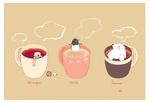 Обои Белый мишка и пингвины в чашках с горячим чаем (stright milk lemon)