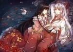 Обои Fujiwara no Mokou / Фудзивара но Моко и Kaguya Houraisan лежат в воде, рядом белый кролик, из серии игр Touhou Project / Проект Восток