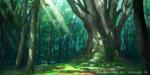 Обои Солнечные лучи проникают сквозь деревья, арт по игре Проект Восток / Touhou Project