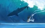 Обои Парень в очках на доске для серфинга и акула под водой, автор Shin jong hun