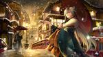 Обои Судьба / Великий Орден, девушка сидит с зонтиком под идущим снегом
